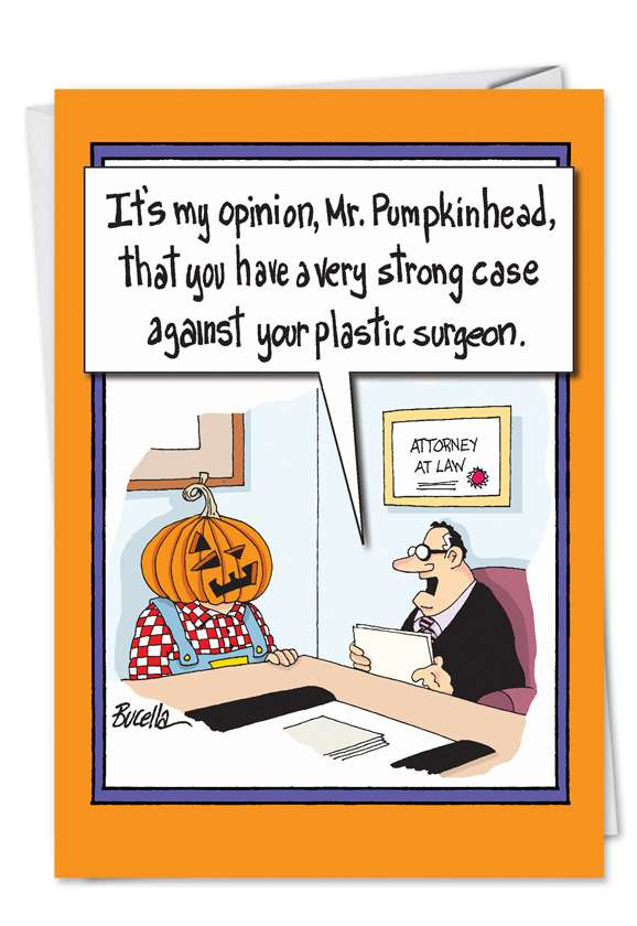 Pumpkinhead Plastic Surgery: Hysterical Halloween Printed Card