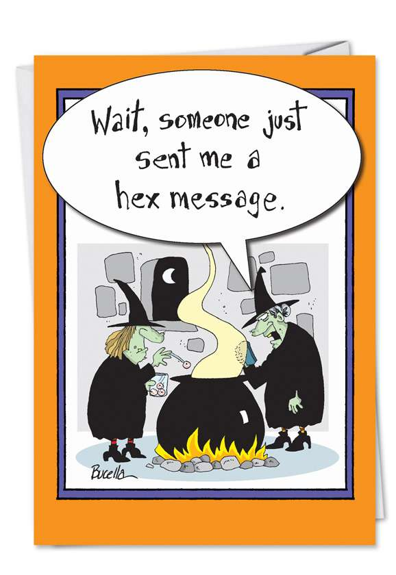 Witch Hex Message: Funny Halloween Paper Greeting Card