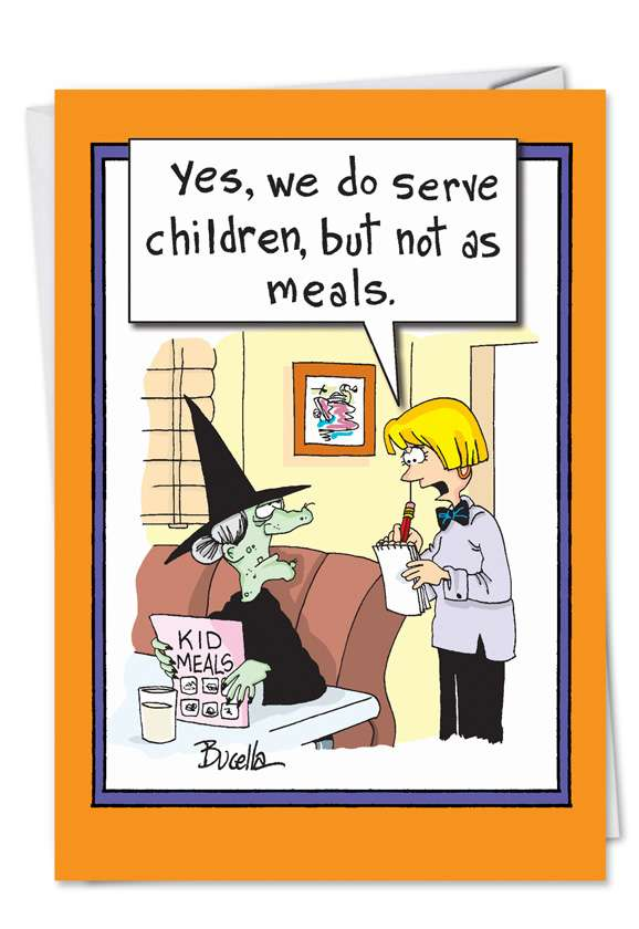 Witch Kids Meals: Hilarious Halloween Printed Greeting Card