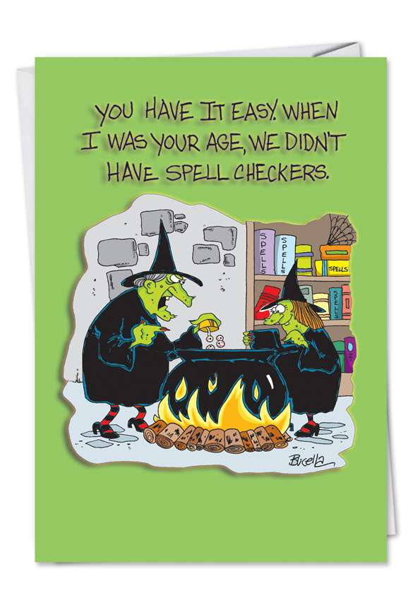 Had it Easy Spell Check: Humorous Halloween Paper Card