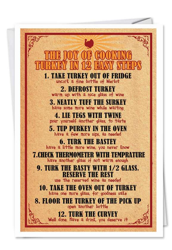 Twelve Step Turkey: Hilarious Thanksgiving Printed Greeting Card