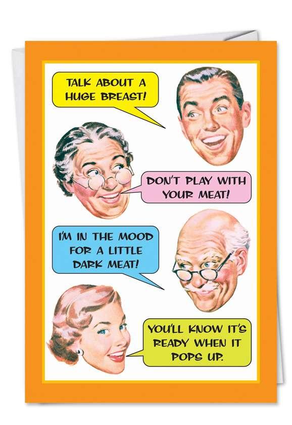 Family Dinner: Humorous Thanksgiving Paper Card