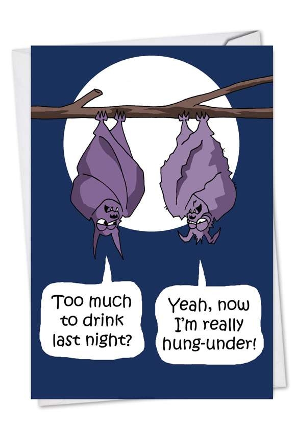 Hung Under: Humorous Halloween Printed Card