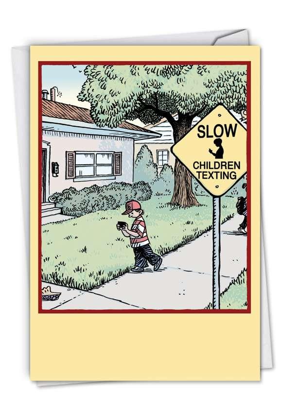 Children Texting: Humorous Birthday Printed Card