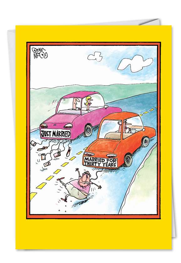 Married Cars: Funny Anniversary Greeting Card