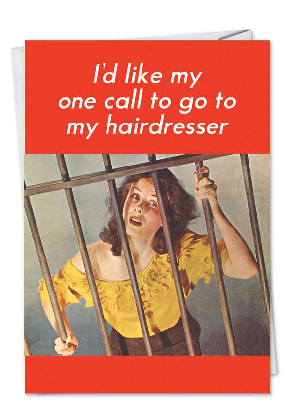 One Call Prison: Humorous Birthday Paper Greeting Card