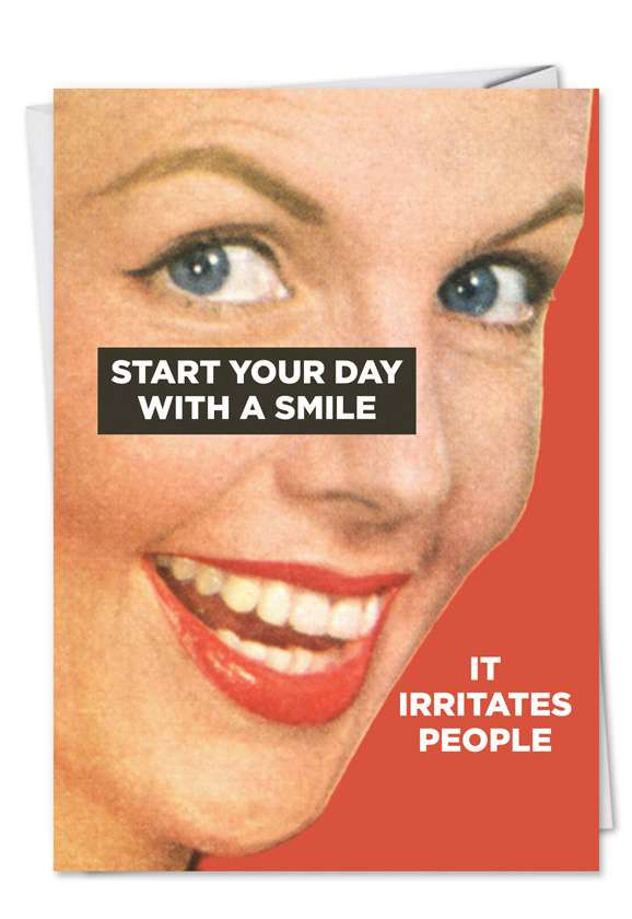 Humorous Birthday Printed Card by Ephemera from NobleWorksCards.com - Start With Smile