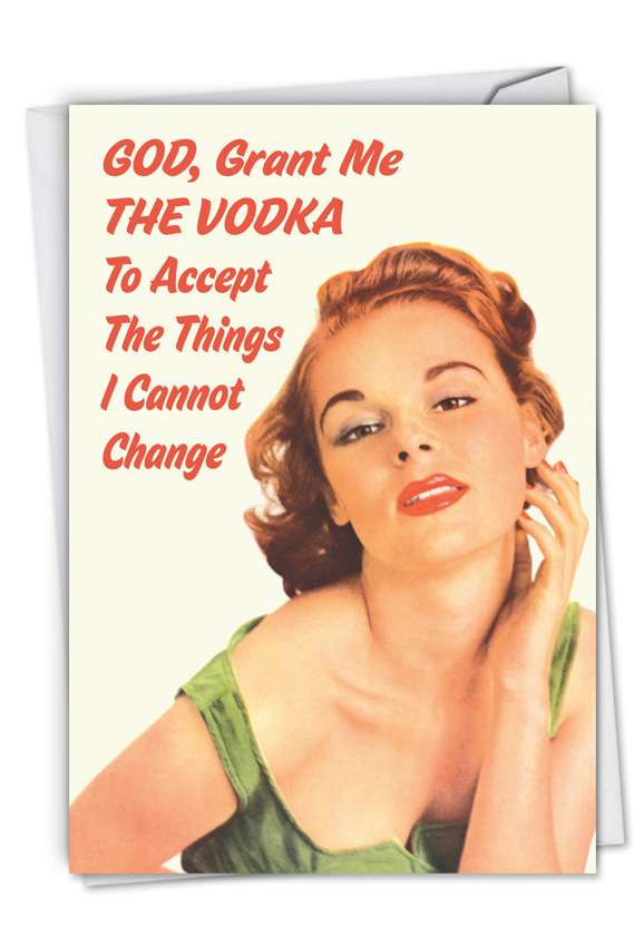 Grant Me the Vodka: Funny Blank Printed Greeting Card