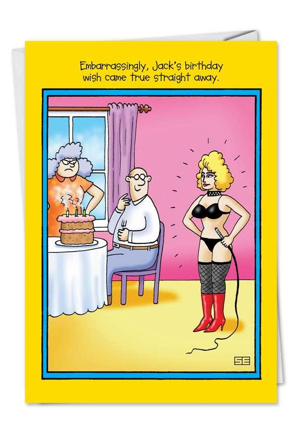 Embarrassing Wish: Humorous Birthday Paper Card
