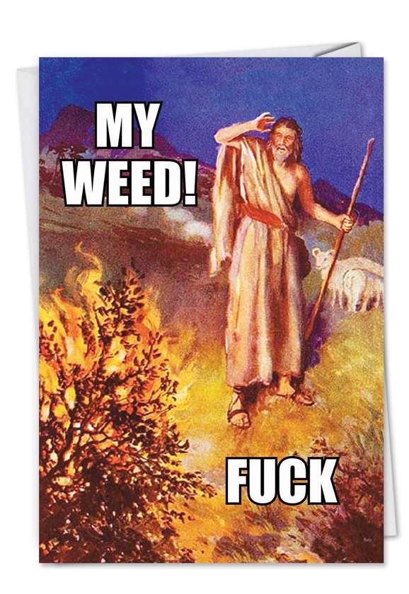 Moses' Weed: Hilarious Blank Printed Greeting Card