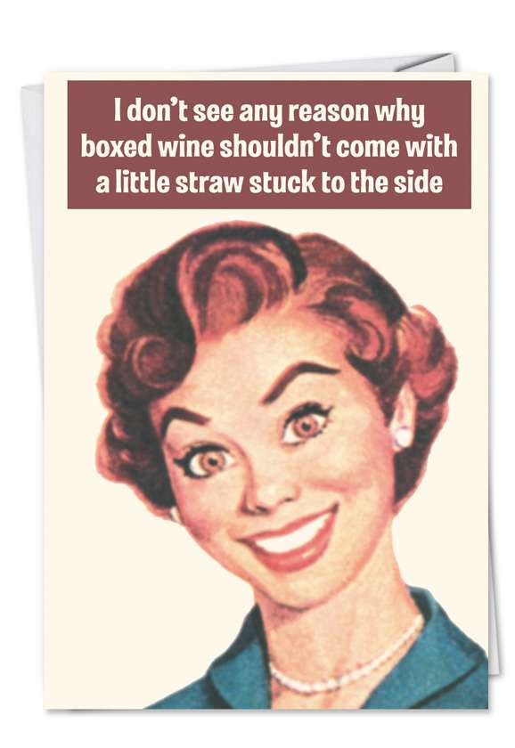 Boxed Wine: Funny Blank Printed Card