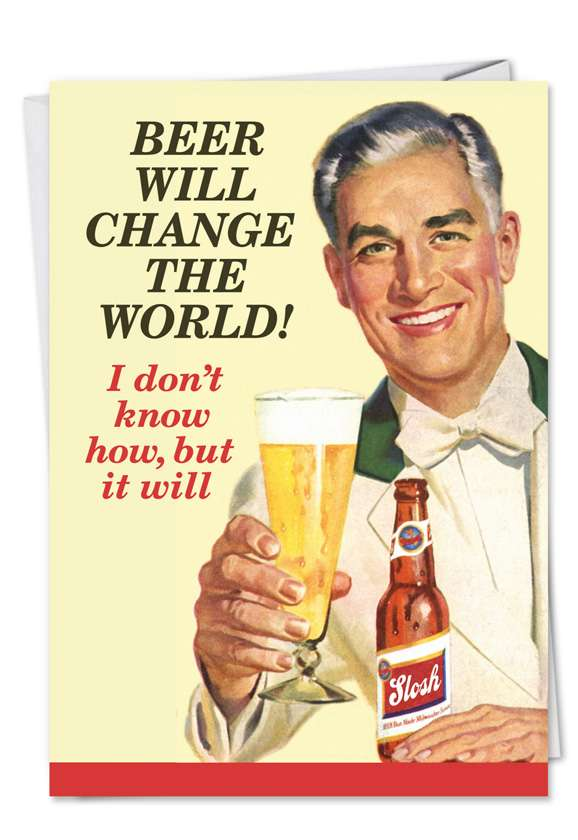 Retro Beer: Humorous Birthday Father Paper Card