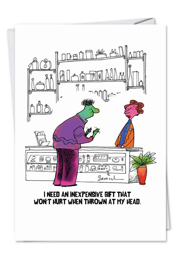 Thrown at Head: Humorous Birthday Paper Card