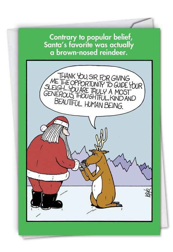 Brown-Nosed Reindeer: Hilarious Christmas Paper Greeting Card