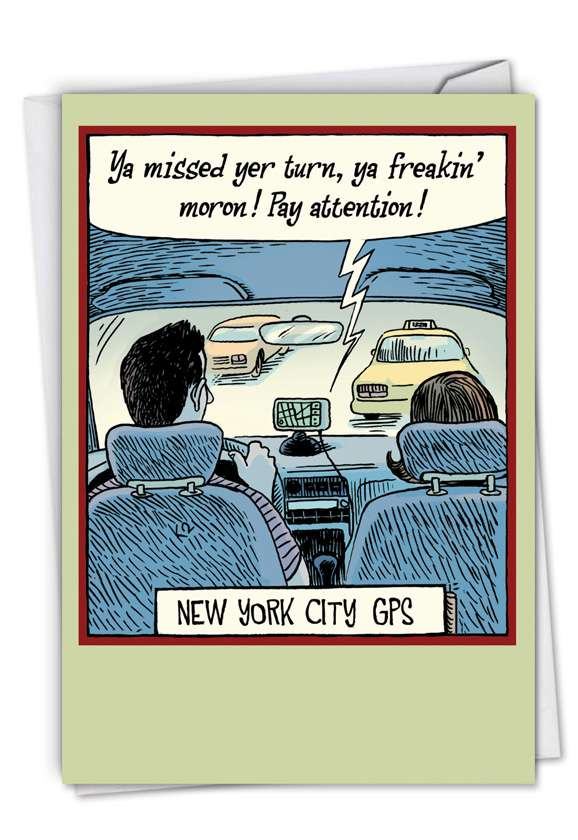 New York City GPS: Funny Birthday Paper Card