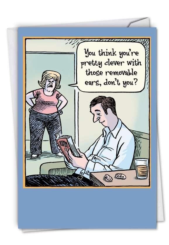 Removable Ears: Humorous Birthday Printed Card