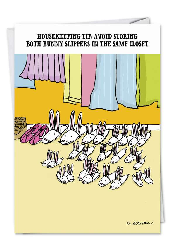 Bunny Slippers: Humorous Birthday Greeting Card