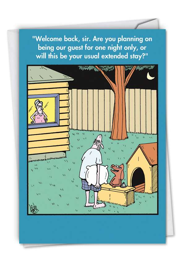 Doghouse: Humorous Birthday Paper Greeting Card