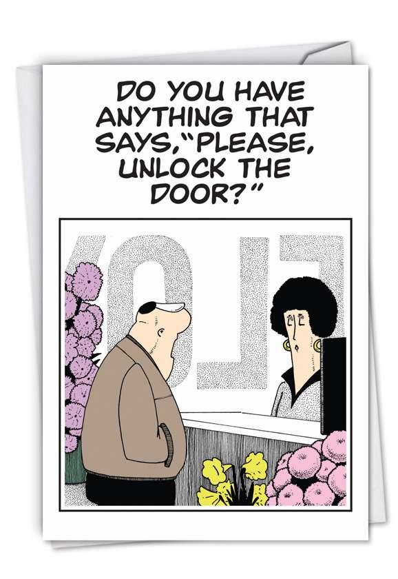 Unlock The Door: Funny Blank Paper Card