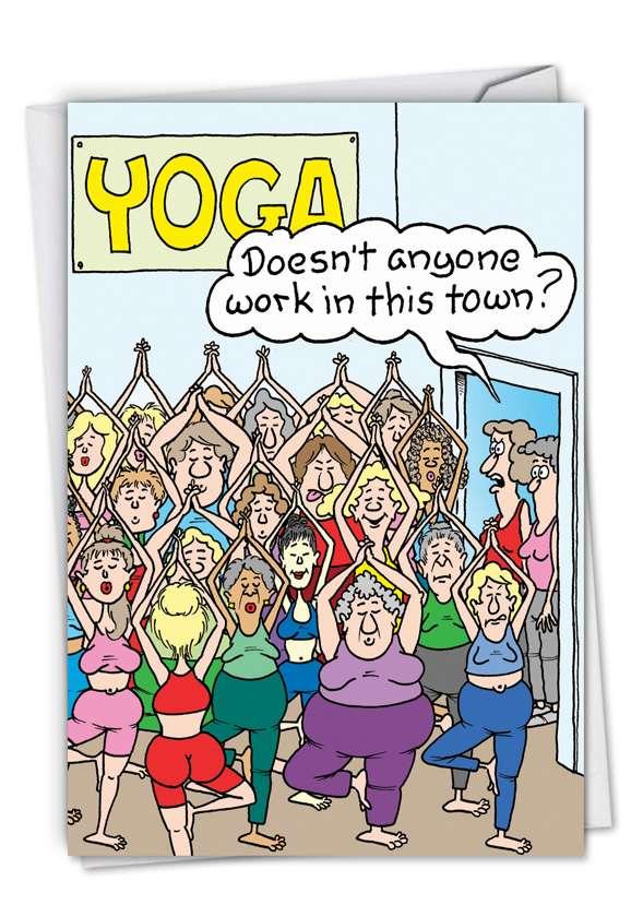 Yoga Class: Hilarious Birthday Paper Card