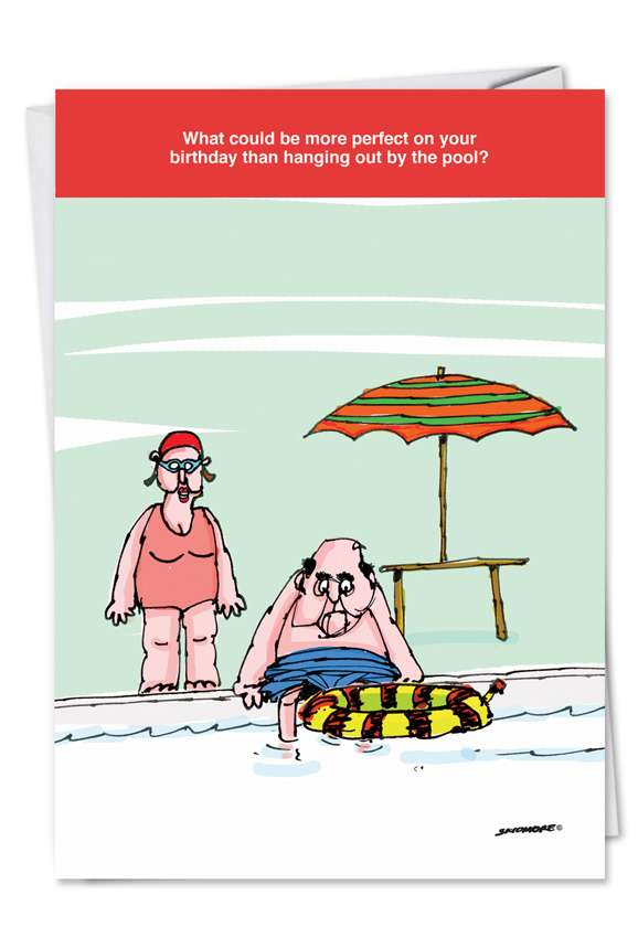 Hanging By The Pool: Hilarious Birthday Printed Card