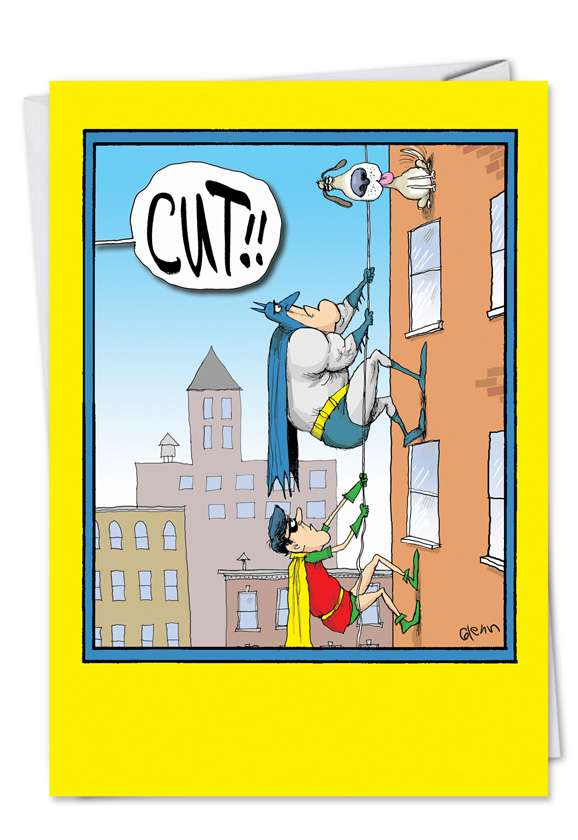 Batman Robin Cut: Humorous Blank Paper Card