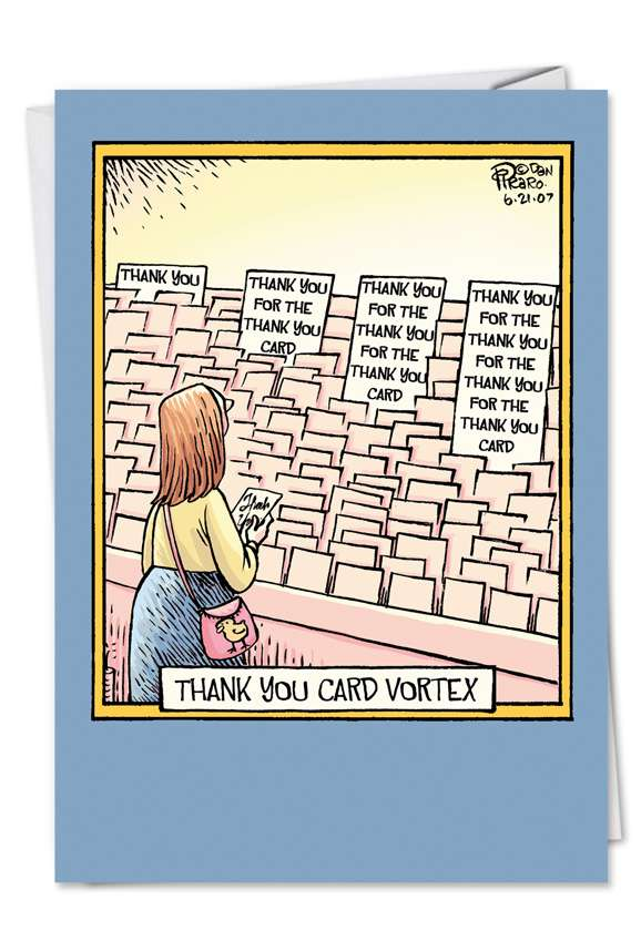 Thank You Card Vortex: Hilarious Thank You Printed Card