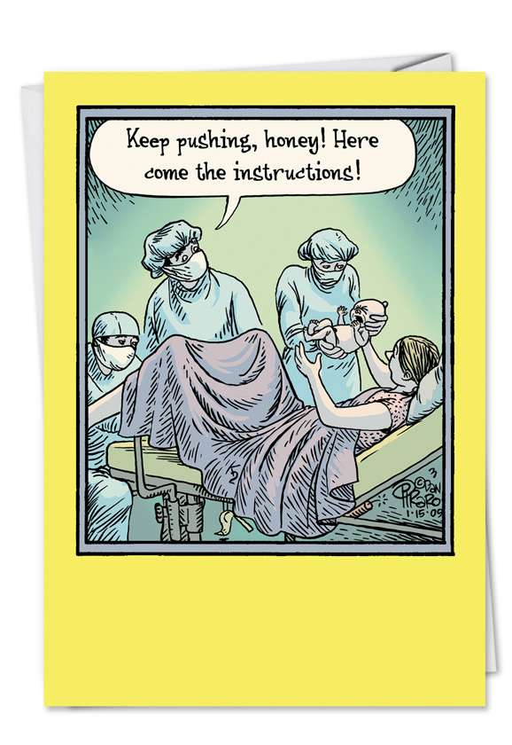 Baby Instructions: Hysterical Congratulations Printed Greeting Card