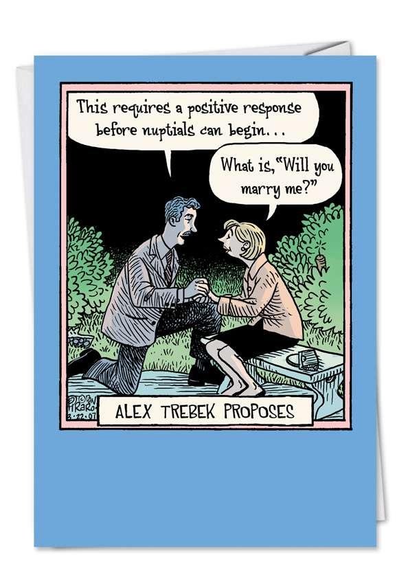 Trebek Proposes: Funny Congratulations Paper Card