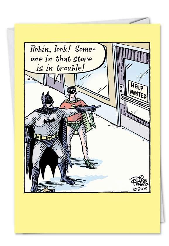 Batman Help Wanted: Humorous Blank Printed Card