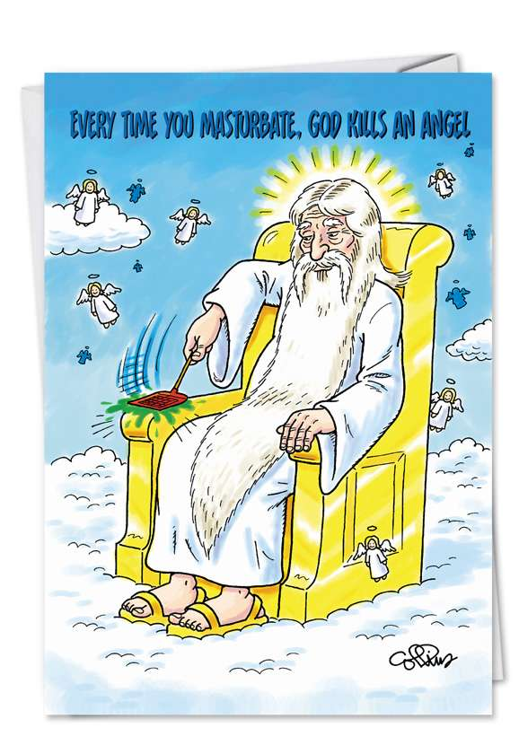 God Kills Angel: Funny Birthday Paper Card