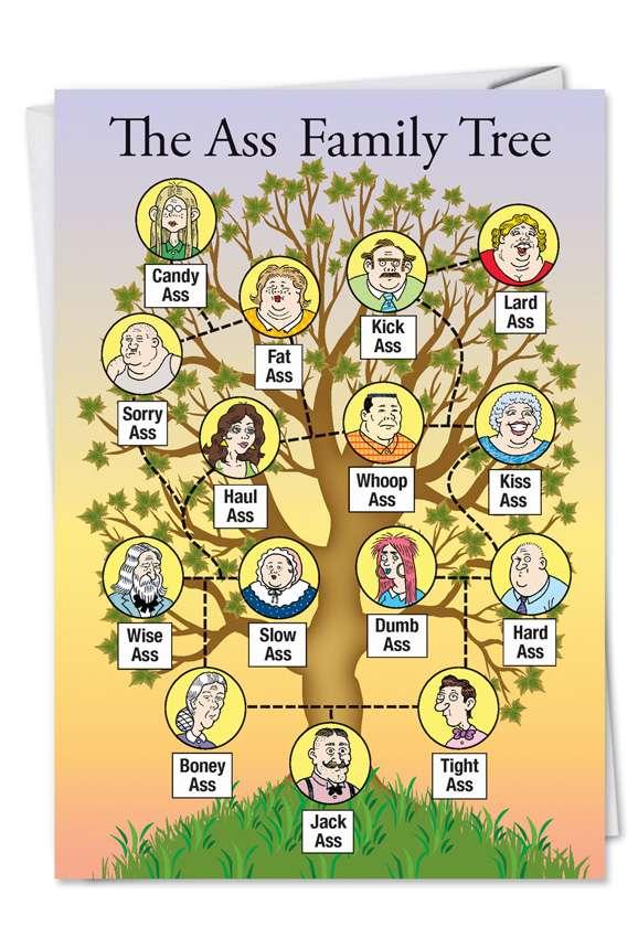 Ass Family Tree: Humorous Birthday Printed Card