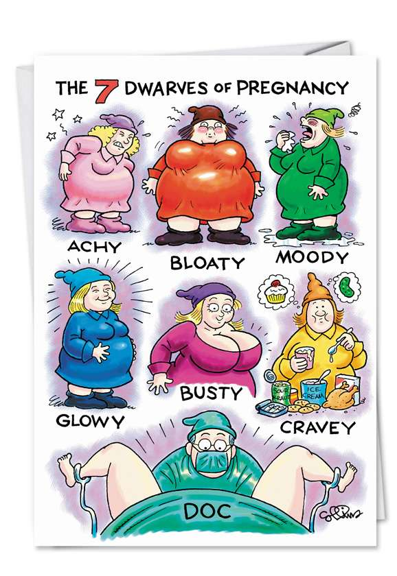 Pregnant Dwarves: Hilarious Congratulations Printed Greeting Card