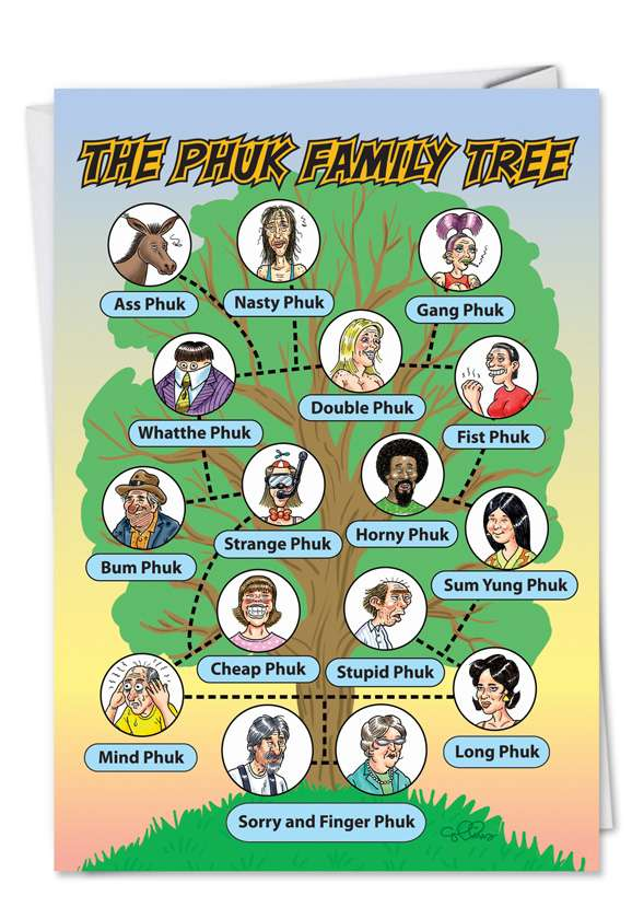 Phuc Family Tree: Hilarious Birthday Printed Greeting Card