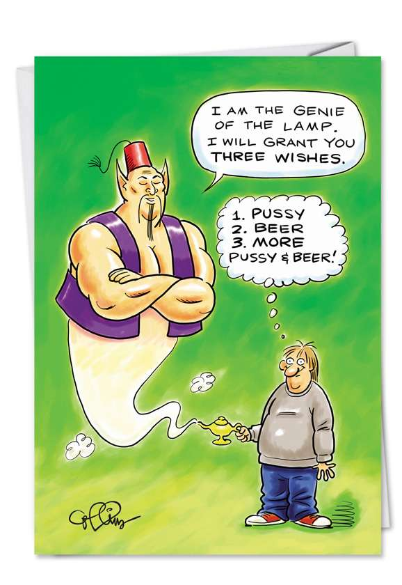 Genie Wishes: Hysterical Birthday Printed Greeting Card