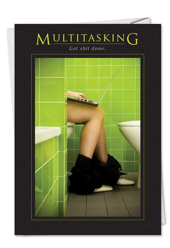 Multitasking: Humorous Birthday Paper Card