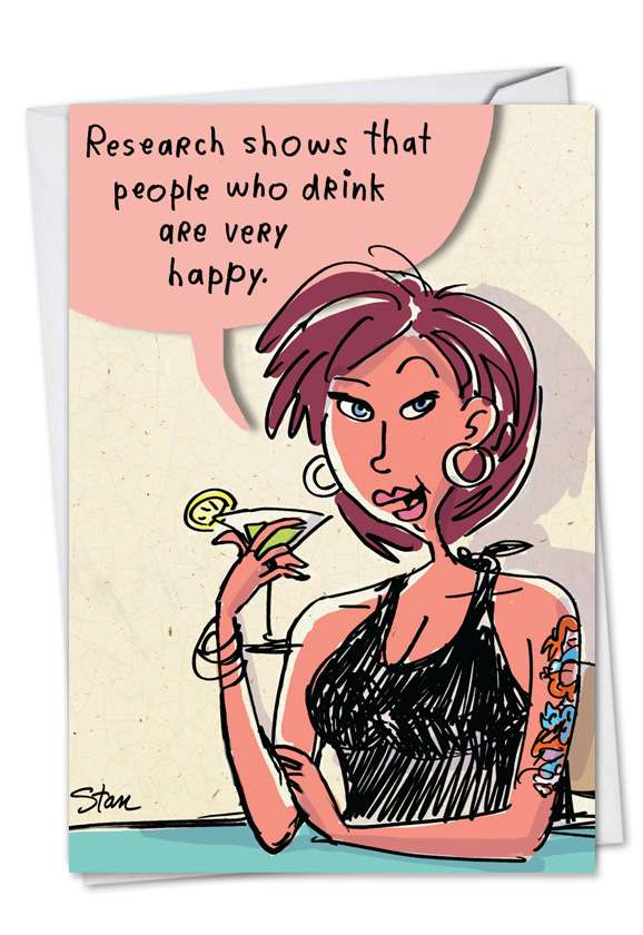 Drink Research: Funny Birthday Paper Card
