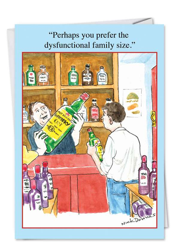 Dysfunctional Family Size: Humorous Birthday Greeting Card