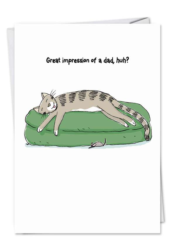 Dads Cat Impression: Hilarious Birthday Father Paper Greeting Card
