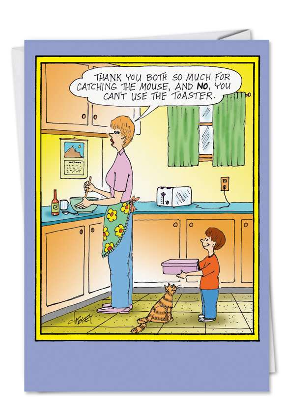 Mouse and Microwave: Humorous Birthday Mother Printed Greeting Card