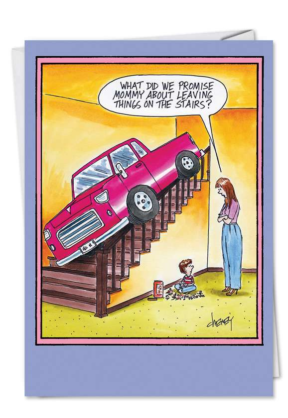 Truck on the Stairs: Hysterical Birthday Mother Printed Greeting Card