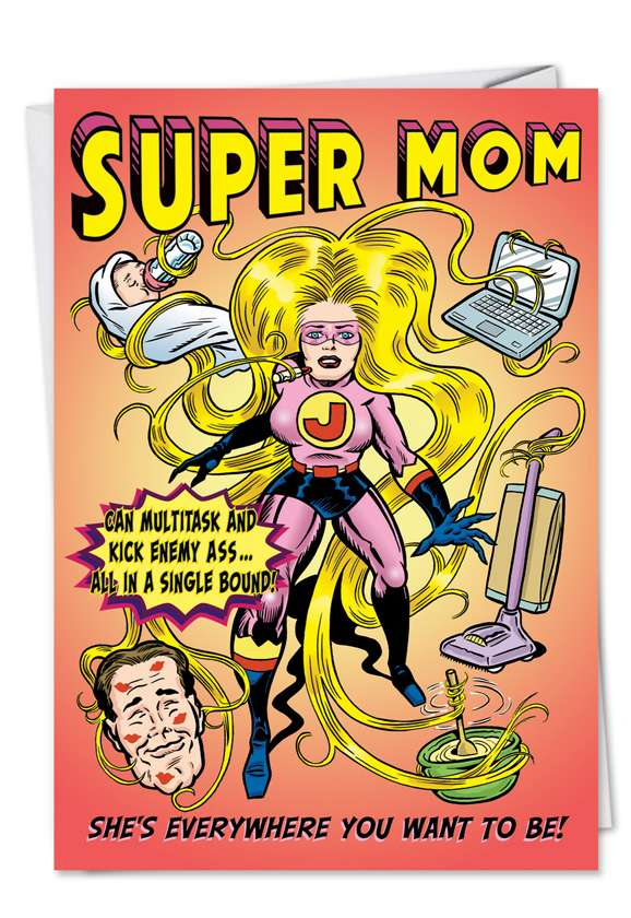 Super Mommy: Funny Birthday Mother Printed Greeting Card