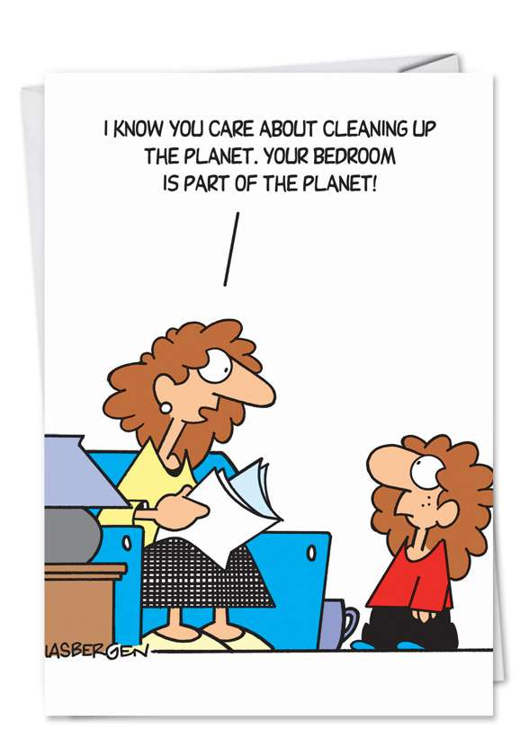 Humorous Birthday Mother Paper Card by Randy Glasbergen from NobleWorksCards.com - Hippie Child