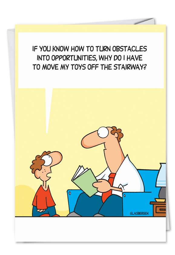 Toys on Stairway: Humorous Birthday Father Paper Card