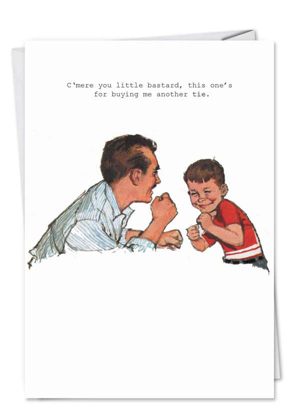 Vintage Dad Boxing Match: Humorous Birthday Father Paper Card