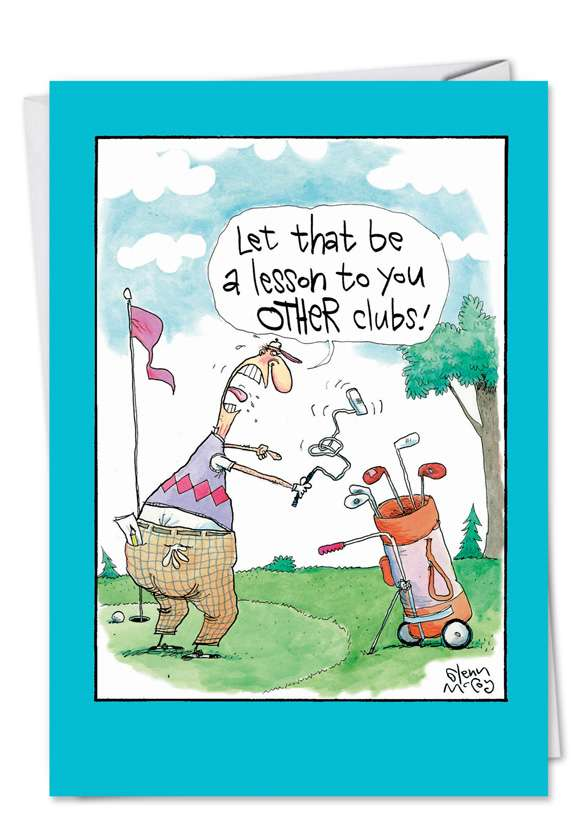 Angry Golfer: Humorous Birthday Father Paper Greeting Card