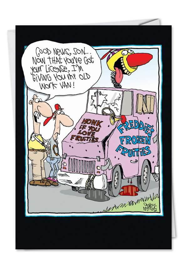 Old Clown Car: Humorous Birthday Father Printed Card