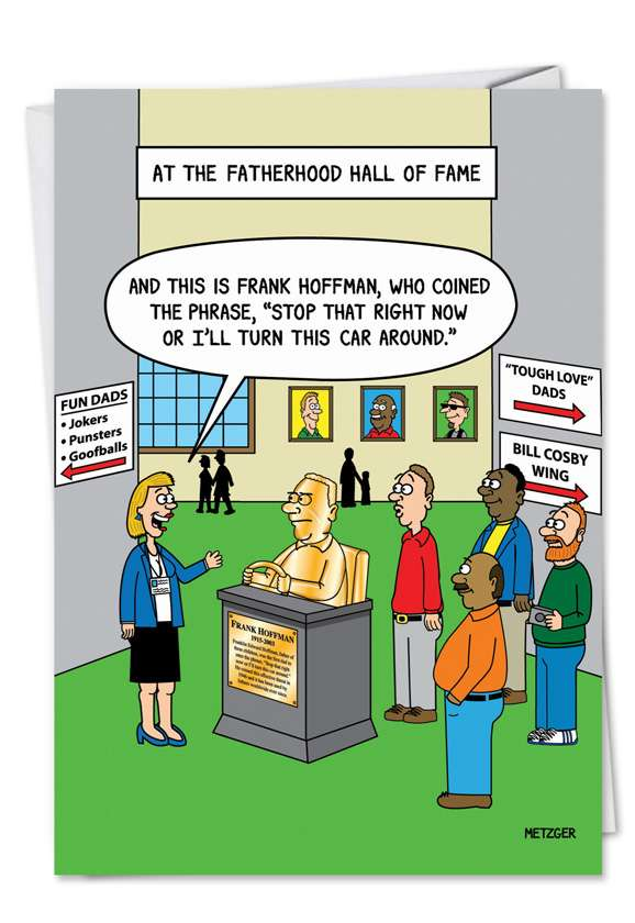 Fatherhood Hall of Fame: Funny Birthday Father Printed Greeting Card
