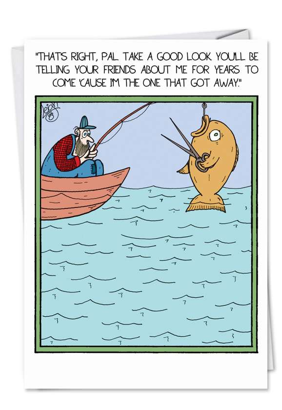 Fish with Scissors: Humorous Birthday Father Greeting Card