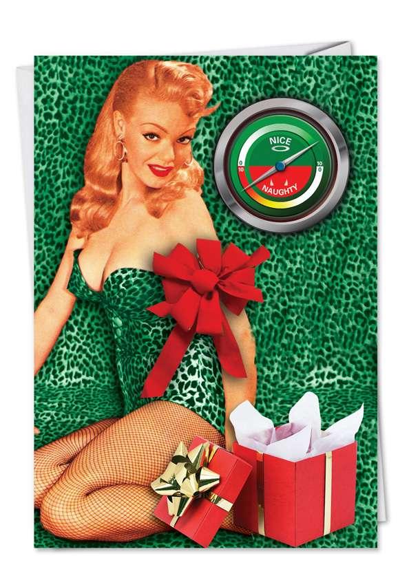 Naughty Nice Gauge: Humorous Christmas Paper Card